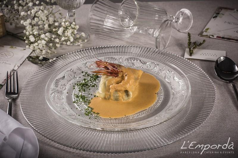 Ravioli de verduras y marisco con salsa Bullabesa