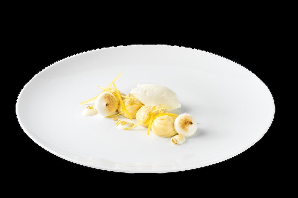 Crema de limón, polenta dulce y helado de maria luisa