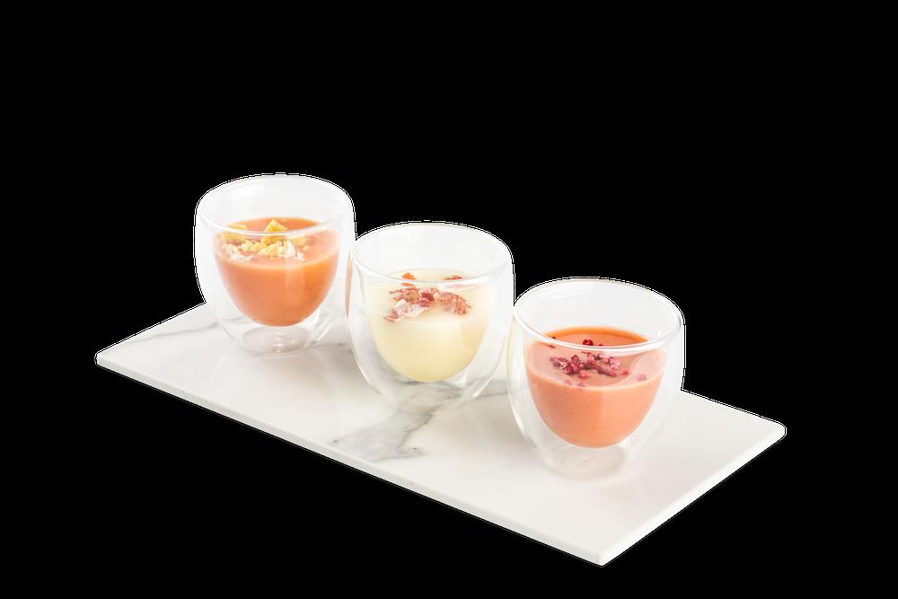 Salmorejo cordobés – Sopa de melón con virutas de jamón – Gazpacho de fresones del Maresme