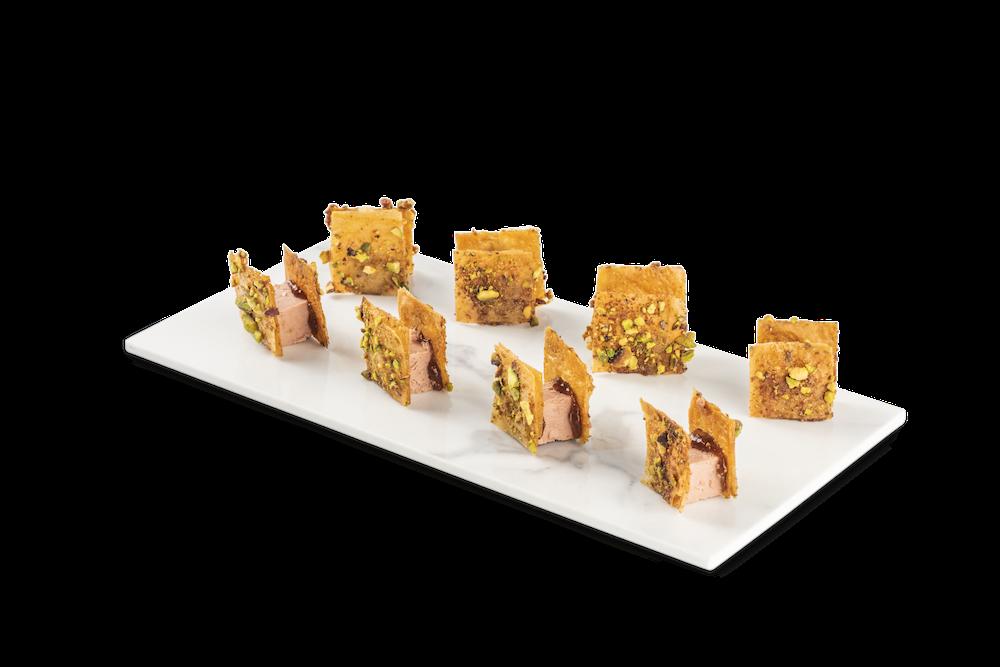 Crujiente de foie y pistacho