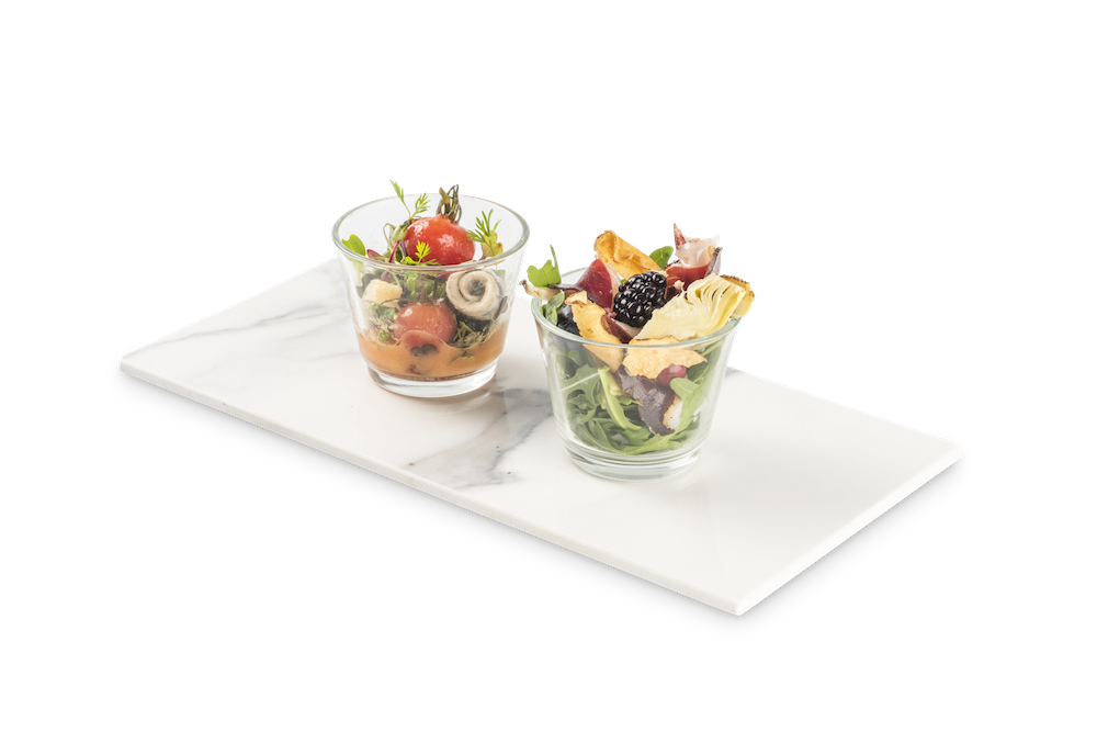 Tomates variados y boquerones – Jamón de pato, alcachofas y fruta de temporada