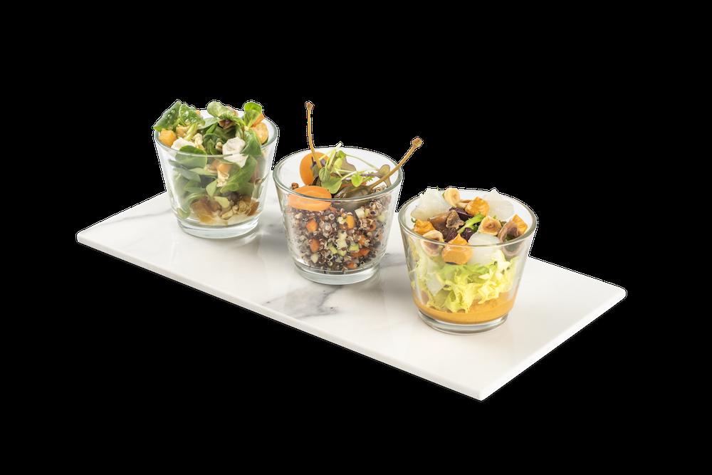 Berro y queso azul – Quinoa tricolor y verduritas – Xatonada